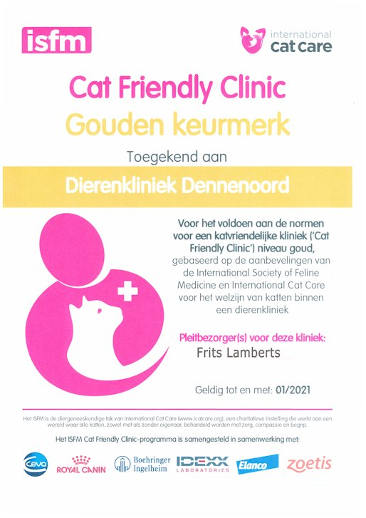 Dierenkliniek Dennenoord Cat Friendly Clinic 2020